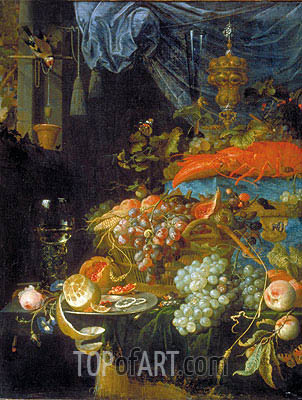 Abraham Mignon | Still Life with Fruit and a Goldfinch, 1679