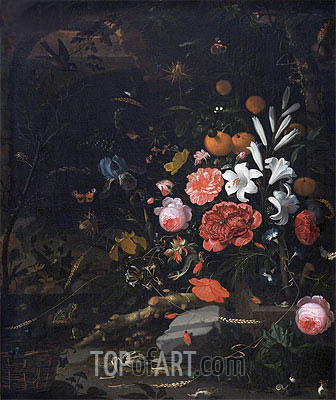 Abraham Mignon | Still Life with Flowers and Animals, 1670