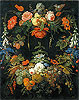 A Floral Wreath and Fruits | Abraham Mignon