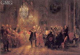 The Flute Concert of Frederick The Great at Sanssouci, c.1850/52 by Adolf von Menzel | Painting Reproduction