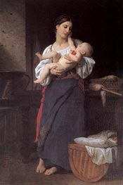 First Caresses, 1866 von Bouguereau | Gemälde-Reproduktion