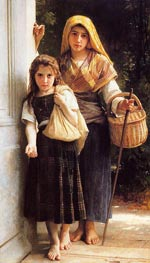 Les petites mendicantes (The Little Beggar Girls), 1890 von Bouguereau | Gemälde-Reproduktion
