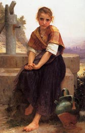 The Broken Pitcher, 1891 by Bouguereau | Painting Reproduction