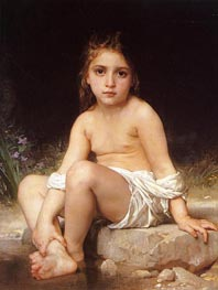 Child at Bath, 1886 by Bouguereau | Painting Reproduction