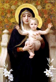 The Virgin of the Lilies   Bouguereau   Painting Reproduction