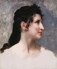 Study of a Girl's Head, 1840 by Bouguereau | Painting Reproduction