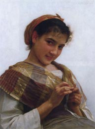 Young Girl Crocheting, 1889 by Bouguereau | Painting Reproduction