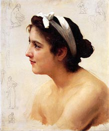 Study of a Woman for Offering to Love, Undated by Bouguereau   Painting Reproduction