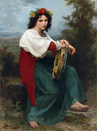 The Italian Girl with Basque's Tambourin, 1872 by Bouguereau | Painting Reproduction