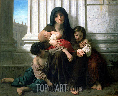Charity (The Indigent Family), 1865 | Bouguereau| Gemälde Reproduktion