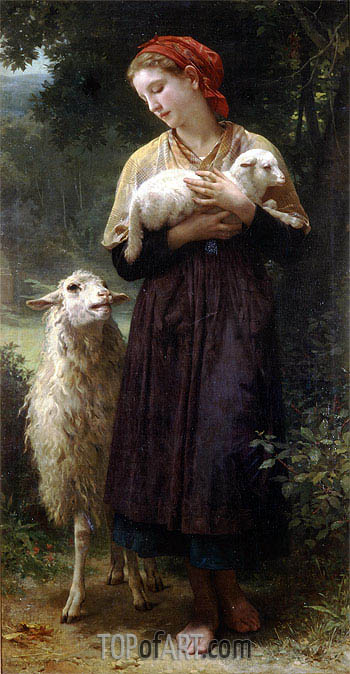The Shepherdess, 1873 | Bouguereau| Gemälde Reproduktion