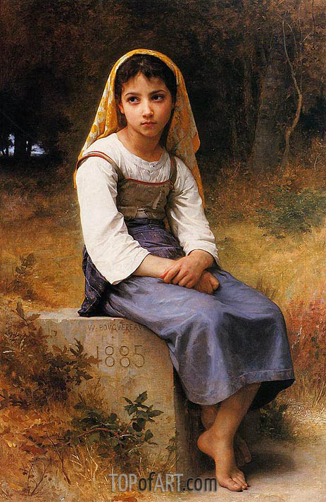 Meditation, 1885 | Bouguereau| Gemälde Reproduktion