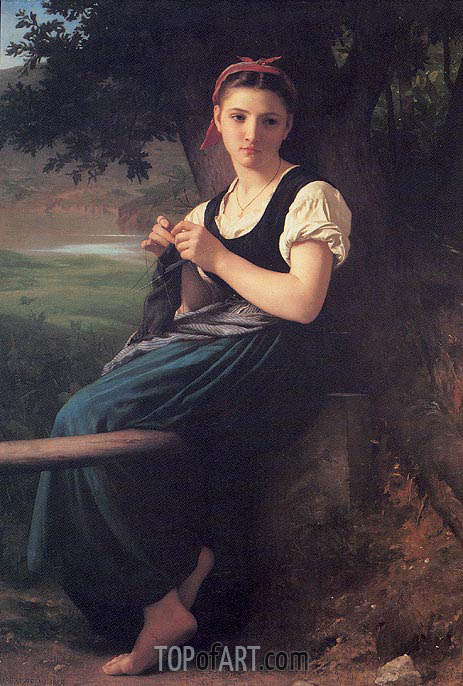 La tricoteuse (The Knitting Girl), 1869 | Bouguereau| Painting Reproduction