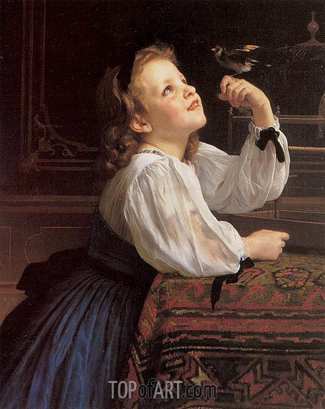 The Pet Bird, 1867 | Bouguereau| Painting Reproduction