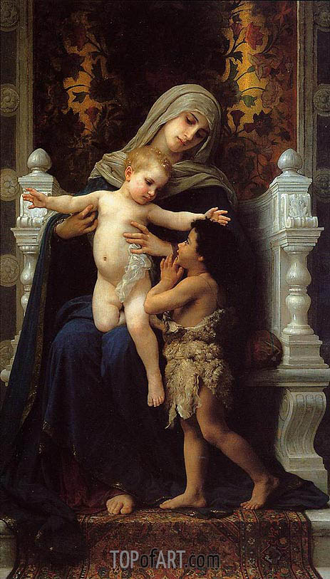 Madonna and Child with Saint John the Baptist, 1882 | Bouguereau | Painting Reproduction