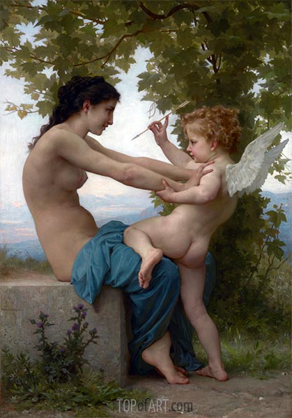 Bouguereau | Young Girl Defending Herself against Eros, 1880