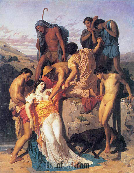 Zenobia Found by Shepherds on the Banks, 1850 | Bouguereau| Painting Reproduction