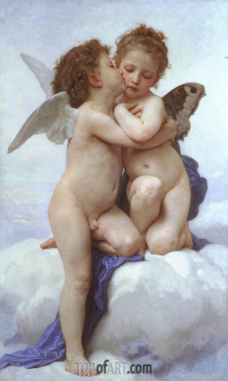 Cupid and Psyche as Children, 1889 | Bouguereau| Painting Reproduction