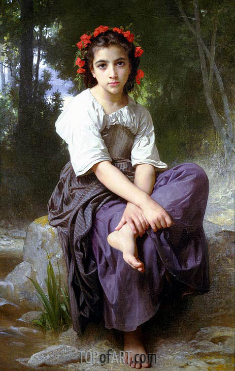 Bouguereau | At the Edge of the River, 1875
