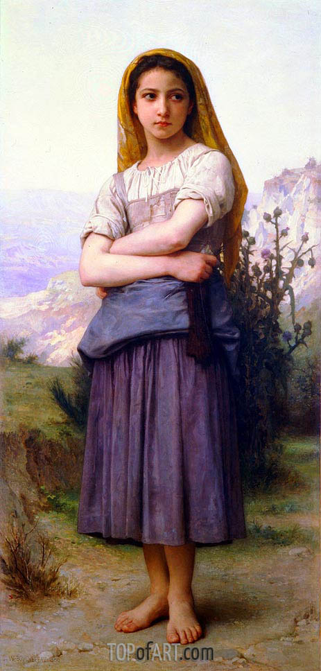 The Knitter, 1884 | Bouguereau | Gemälde Reproduktion