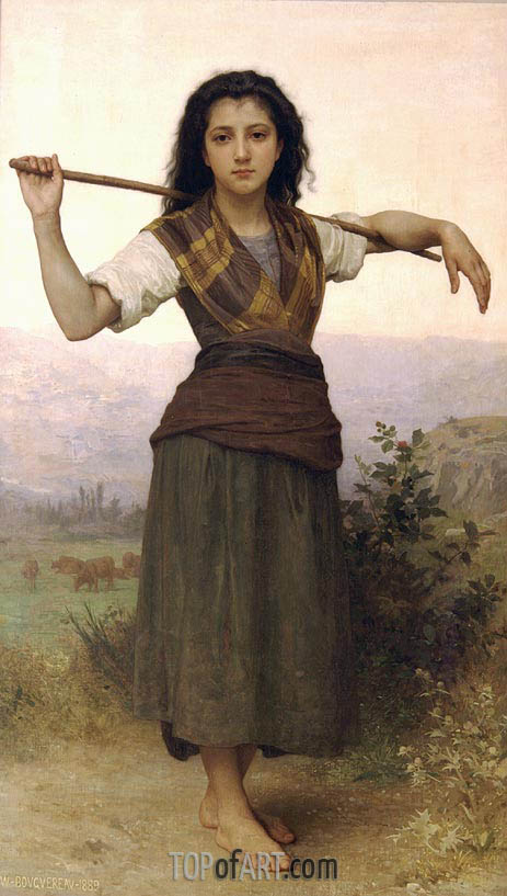 Pastourelle (Shepherdess), 1889 | Bouguereau| Painting Reproduction