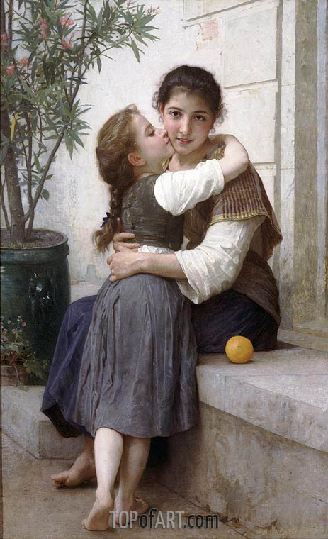 A Little Coaxing, 1890 | Bouguereau | Painting Reproduction