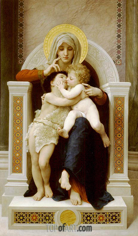The Virgin, the Baby Jesus and St. John the Baptist, 1875 | Bouguereau| Painting Reproduction