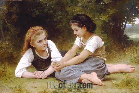 Les Noisettes (The Nut Gatherers), 1882 | Bouguereau| Gemälde Reproduktion