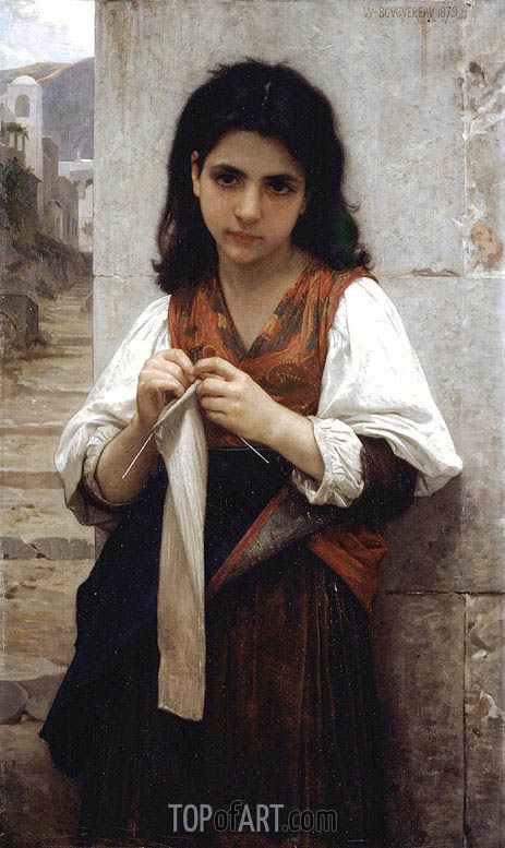 The Little Knitter, 1879 | Bouguereau| Painting Reproduction