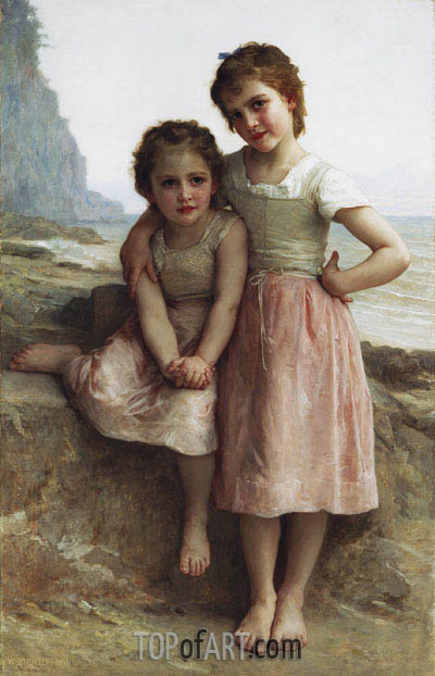 Sisters on the Shore (Sur la Greve), 1896 | Bouguereau | Painting Reproduction