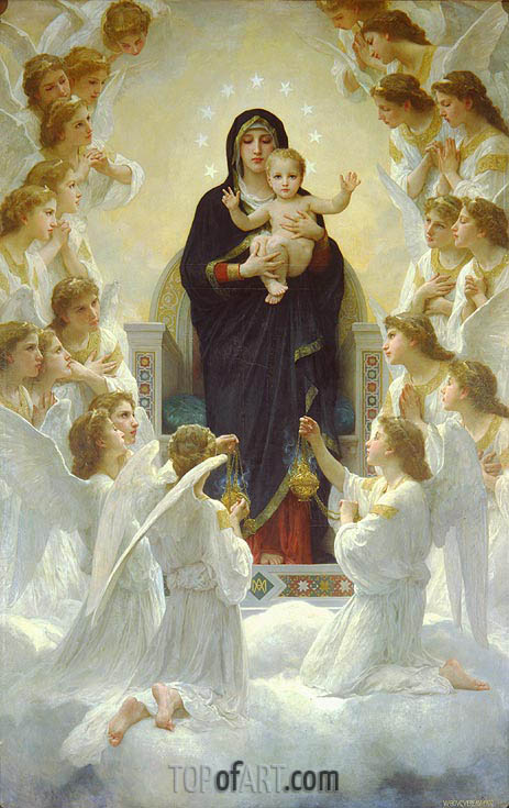 The Virgin with Angels, 1900 | Bouguereau| Painting Reproduction