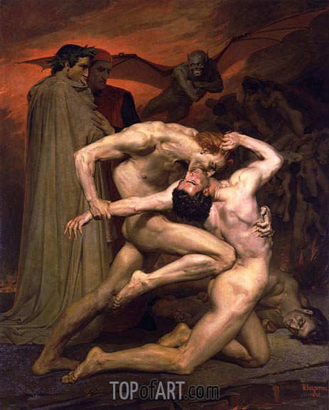 Dante and Virgil in Hell, 1850 | Bouguereau| Painting Reproduction