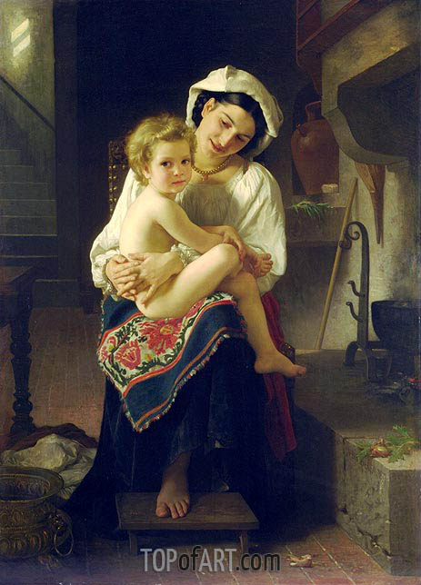 Young Mother Gazing at Her Child, 1871 | Bouguereau | Gemälde Reproduktion