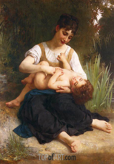 The Joys of Motherhood (Girl Tickling a Child), 1878 | Bouguereau | Gemälde Reproduktion