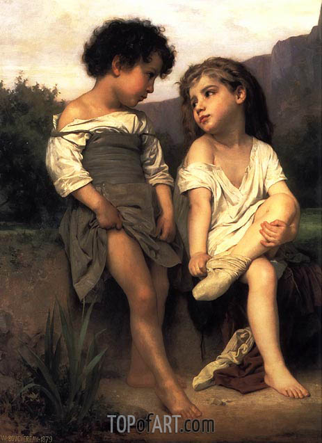 At the Edge of the Brook, 1879 | Bouguereau | Gemälde Reproduktion