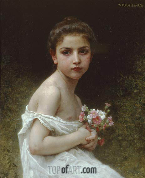Little Girl with a Bouquet, 1896 | Bouguereau| Painting Reproduction