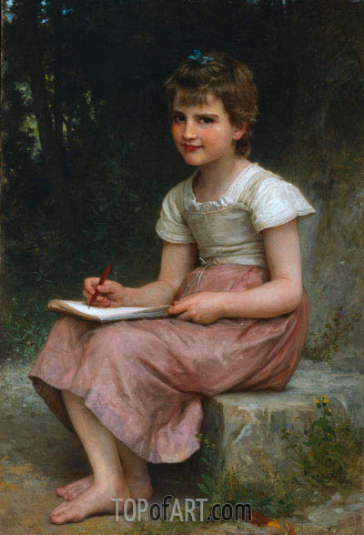 A Calling (Seated Girl Writing), 1896 | Bouguereau| Painting Reproduction