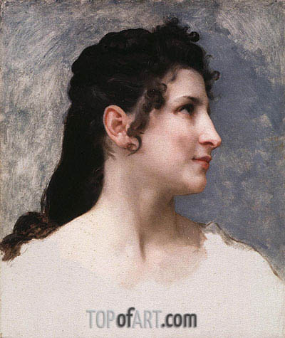 Study of a Girl's Head, 1840 | Bouguereau| Painting Reproduction