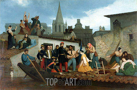 Napoleon III Visiting Flood Victims of Tarascon in June 1856, 1856 | Bouguereau| Painting Reproduction