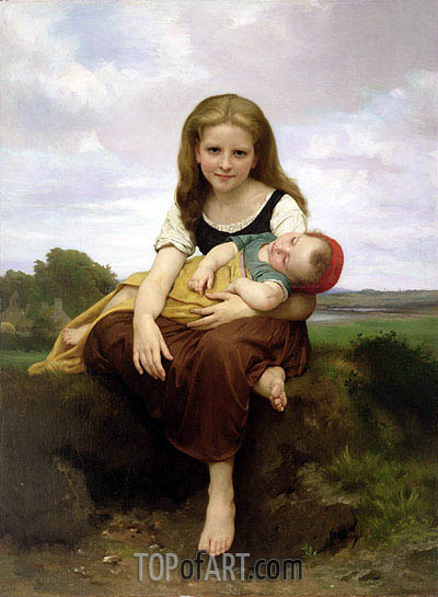 The Elder Sister, 1869 | Bouguereau| Painting Reproduction