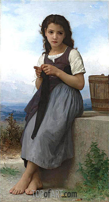 La Tricoteuse (The Little Knitter), 1884 | Bouguereau | Gemälde Reproduktion