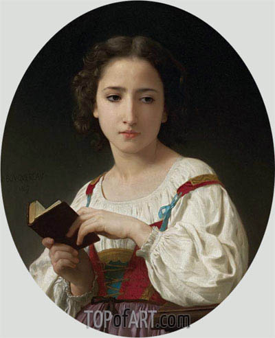 The Book Hours, 1867 | Bouguereau| Painting Reproduction