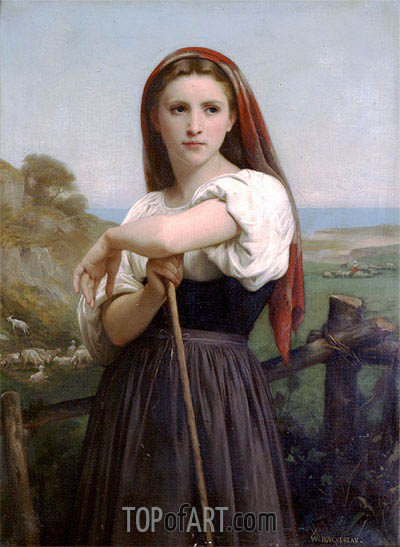 Young Shepherdess, 1868 | Bouguereau| Gemälde Reproduktion