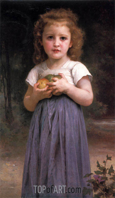 Little Girl Holding Apples in Her Hands, 1895 | Bouguereau | Gemälde Reproduktion