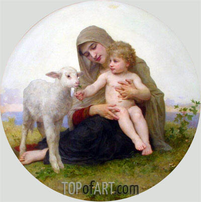 Virgin and Lamb, 1903 | Bouguereau | Painting Reproduction