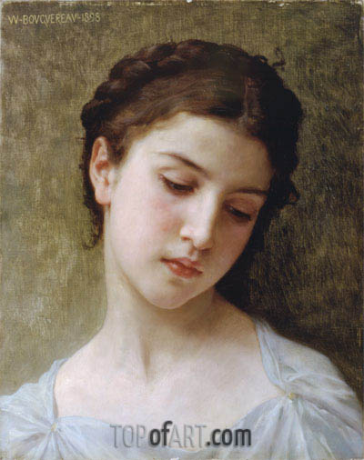 Head of a Young Girl, 1898 | Bouguereau | Painting Reproduction