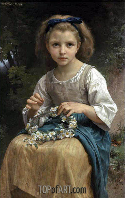 Child Braiding a Crown, 1874 | Bouguereau | Gemälde Reproduktion