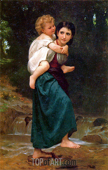 The Crossing of the Ford, 1869 | Bouguereau | Gemälde Reproduktion