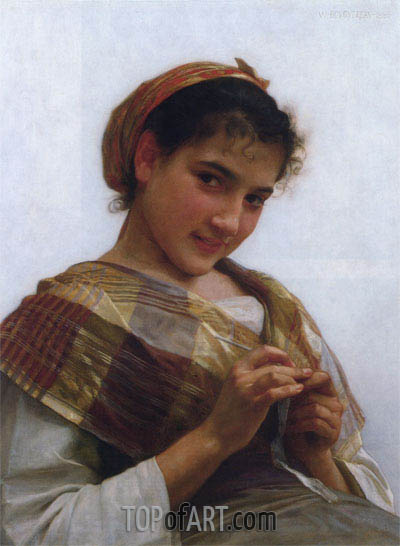Young Girl Crocheting, 1889 | Bouguereau | Gemälde Reproduktion