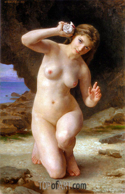 Woman with Seashell, 1885 | Bouguereau | Painting Reproduction